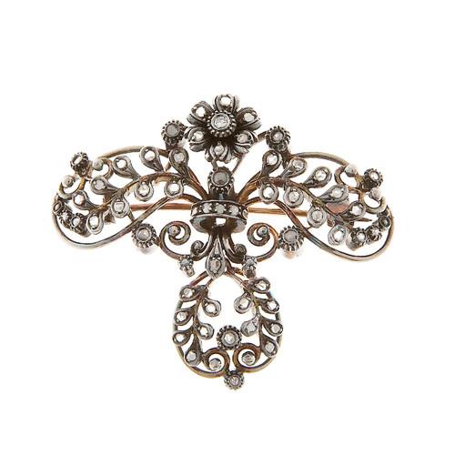 Vintage Victorian 14k Gold & Silver Dark Patina 41 Rose Cut Diamond Dangle Pin
