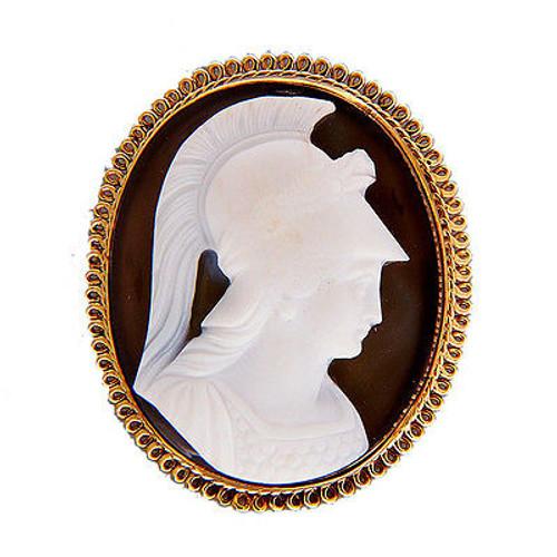 Vintage Hand Carved Banded Hardstone Agate Pin – 14k Gold Frame Roman Soldier