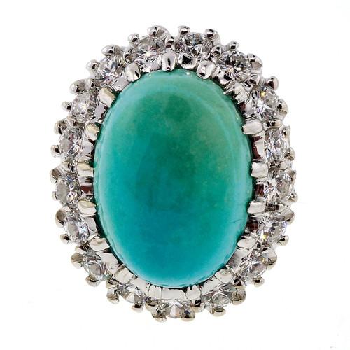 9.00 Carat  Persian Turquoise Diamond White Gold Ring