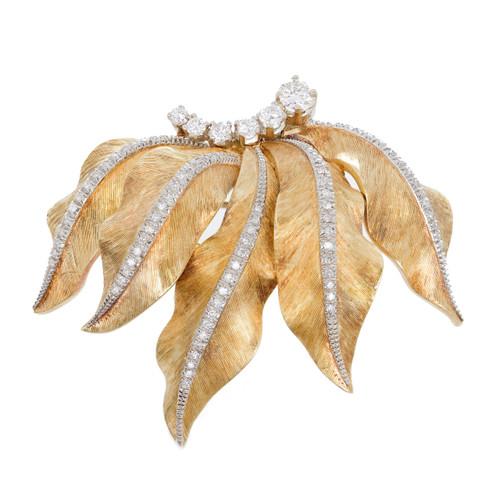 .62 Diamond Mid-Century Textured Gold Leaf Brooch