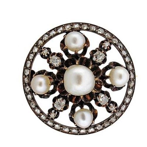 Vintage Georgian 1800'S 14k Gold Natural Patina Pearl Old Mine Diamond Pin