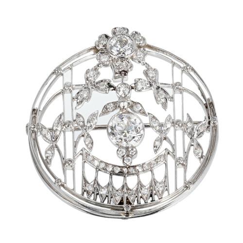 Vintage Art Deco European Cut 1.21ct. Diamond Pin Pendant Platinum Gold