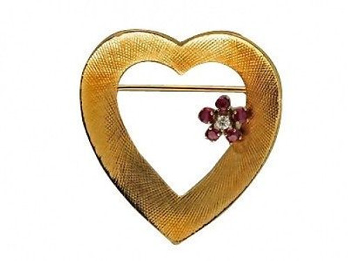 Estate Designer Cartier 1950'S Red Ruby Heart Flower 14k Yellow Gold Pin