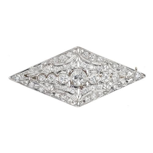 Vintage Art Deco Old European 3.75ct Cut Platinum Diamond Pin
