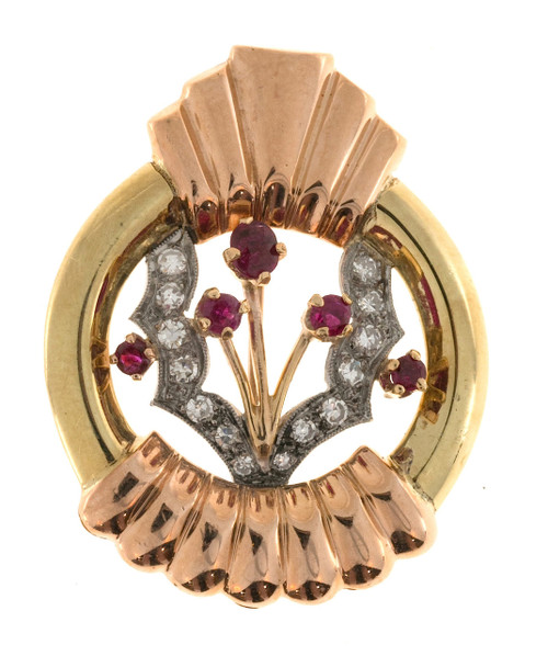 Estate Retro Ruby Bead Set Diamond Green, Pink and White Gold Pin Pendant