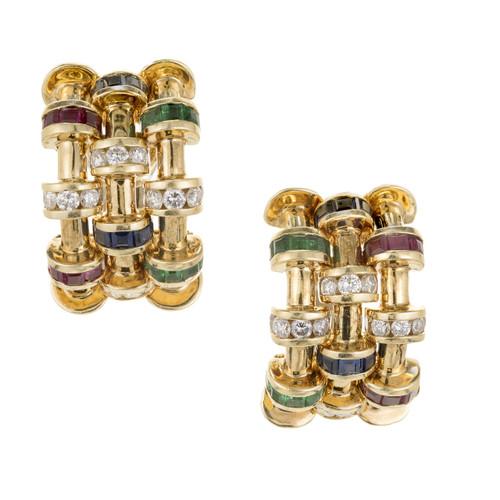 Charles Krypell 1.60 Carat Diamond Ruby Sapphire Emerald Yellow Gold earrings