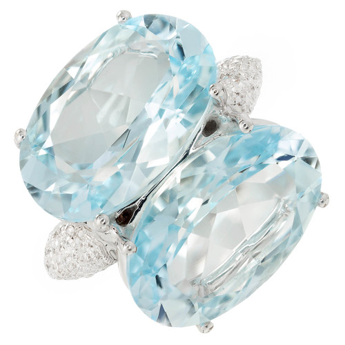 Antonini Panama Double 22.00 Carat Aquamarine Diamond Gold Cocktail Ring