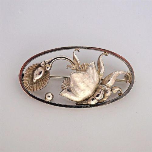 Vintage Georg Jensen Denmark Oval Silver Flower Pin 274