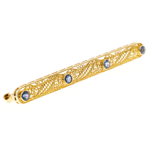 Vintage 14k Yellow Gold Filigree Yogo Montana Natural No Heat Sapphire Bar Pin