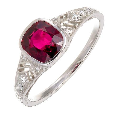Tiffany & Co. Ruby Diamond Platinum Ring c1900