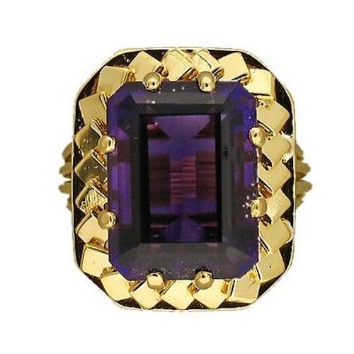 Vintage Rare Gem Reddish Purple 6.00ct Emerald Cut Amethyst Ring Gold Wire Base