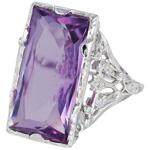 13.00 Carat Amethyst Art Deco Filigree White Gold Cocktail Ring