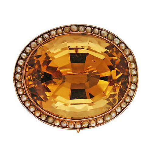 Vintage Bezel Set Huge Golden Untreated Citrine 46 Seed Pearl 14k Pink Gold Pin