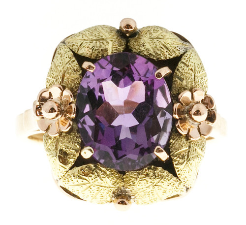Vintage Victorian 18k Pink Green Gold Textured 3.20ct Oval Natural Purple Ring