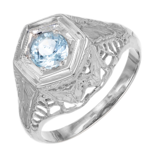 .25 Carat Aquamarine Filigree 18k White Gold Engagement Ring