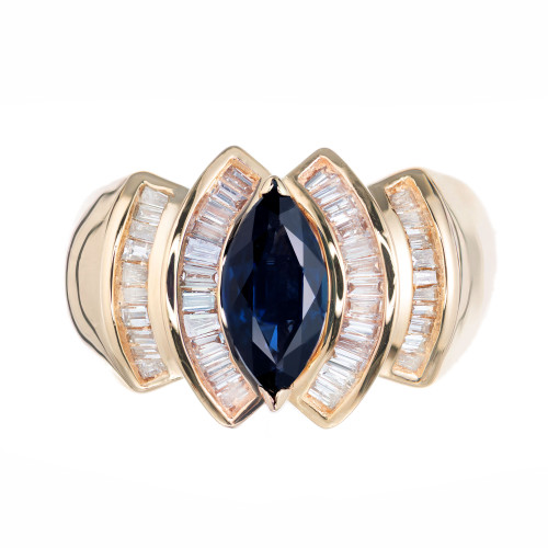 1.15 Carat Marquise Sapphire Baguette Diamond Cocktail Ring