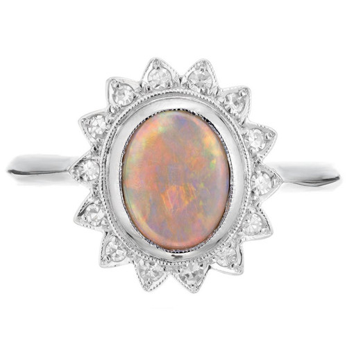 .85 Carat Opal Diamond White Gold Ring
