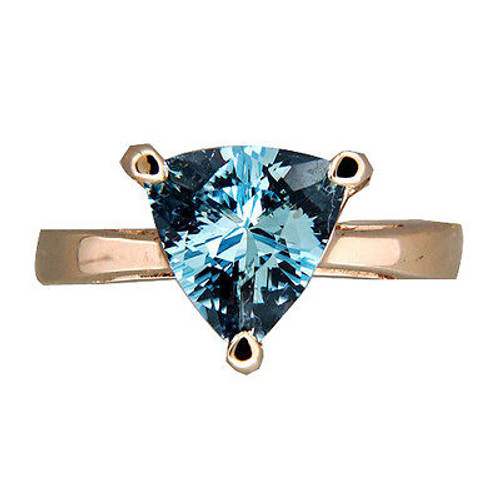 Vintage Estate Natural  Untreated 2.00CT Triangle Aqua 14K White Gold Ring