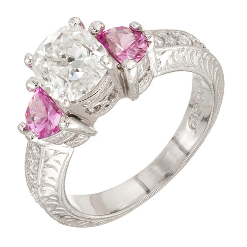 Peter Suchy Diamond Pink Sapphire Antique Platinum Engagement Ring