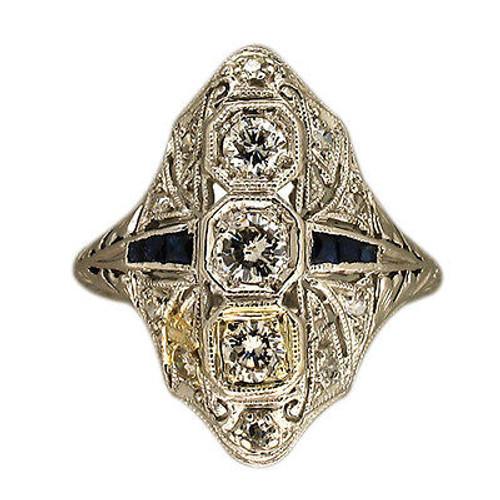 Vintage 1930s Art Deco Pierced And Bead Set Platinum Sapphire Diamond Ring