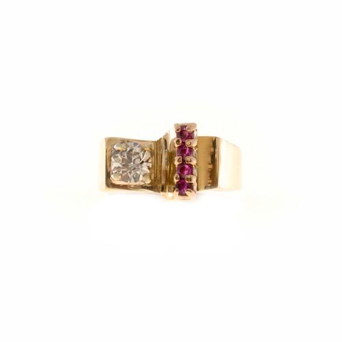 Estate 1940'S Retro English Rose Gold Platinum European Brown Diamond Ruby Ring