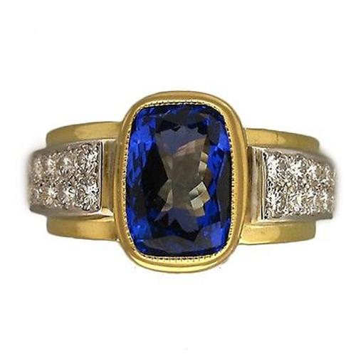 Estate 18k Gold & Platinum 4.0ct Gem Purple Tanzanite, Pave Set Diamond Ring