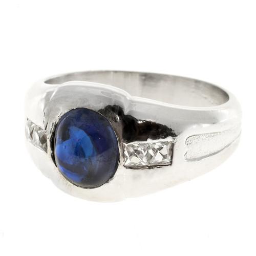 Vintage Art Deco 2.05ct Gem Cabochon Blue Sapphire 1920s Diamond Platinum Ring