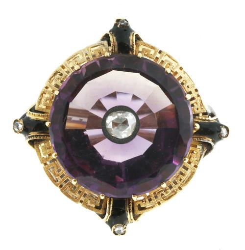 Vintage 1930s 14k Flat Top Amethyst Rose Cut Diamond Ring Black Enamel Accents