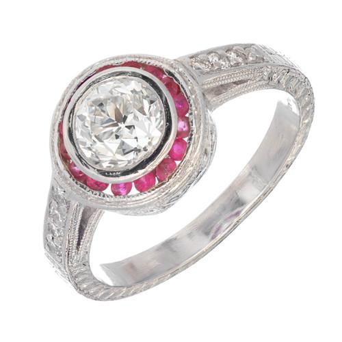 Art Deco Round Diamond 1.07ct Ruby Halo Platinum  Engagement Ring