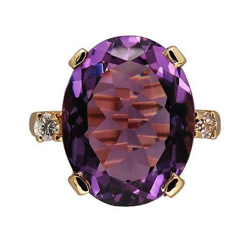 Vintage Untreated 8.25ct Purple Amethyst 14k Yellow Gold Basket 2 Diamond Ring