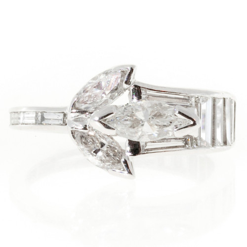 1.35 Carat Marquise Baguette Diamond Platinum Ring