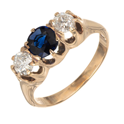 1.35 Carat Sapphire Diamond Three-Stone Yellow Gold Engagement Ring