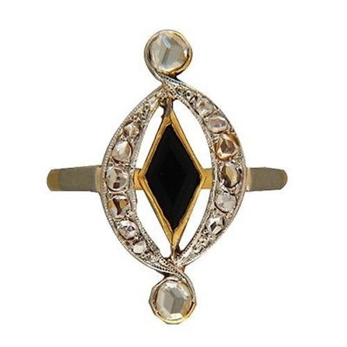 Victorian Rose Cut Diamond Black Diamond Shaped Onyx Ring 14k Yellow Gold Silver