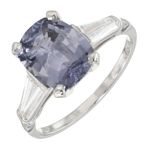 GIA 3.06ct Violet Blue Sapphire  Diamond Platinum Engagement Ring