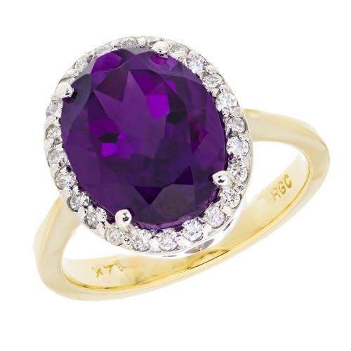 4.50 Carat Amethyst Diamond Halo Yellow Gold Cocktail Ring