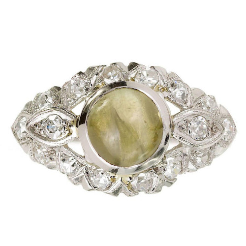 1.70 Carat Chrysoberyl Cat's Eye Diamond Platinum Art Deco Ring