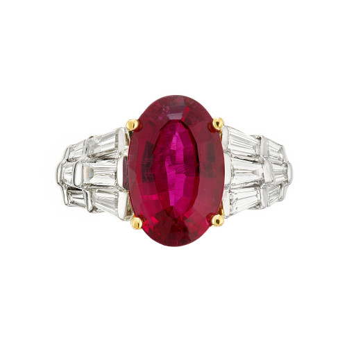 6.35 Carat Oval Red Rubelite Tourmaline Diamond Gold Cocktail Engagement Ring