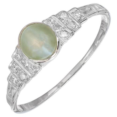 1.20 Carat Cabochon Chrysoberyl Cat's Eye Diamond Platinum Engagement Ring