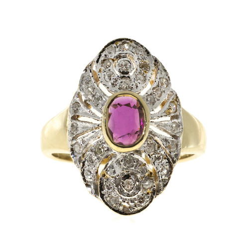 .35ct Oval Ruby .20ct Pave Set Diamond Size 3 14k Yellow & White Gold Ring