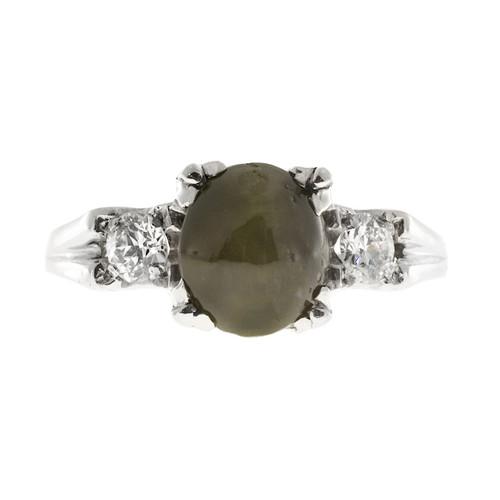 Vintage 1940s Rare Cabochon Chrysoberyl Cats Eye Diamond Fishtail Platinum Ring