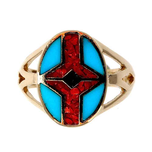 Turquoise Red Enamel Inlay Yellow Gold Ring