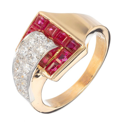 Ruby diamond 18k Yellow Gold Platinum Buckle Cocktail Ring
