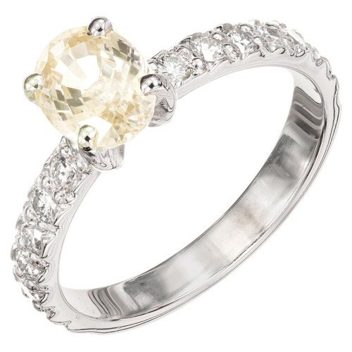 GIA Certified 1.17 Carat Oval Yellow Sapphire Diamond Platinum Engagement Ring