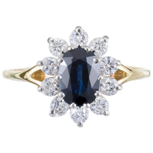 Javlen 1.00 Carat Sapphire Diamond Halo Yellow Gold Engagement Ring