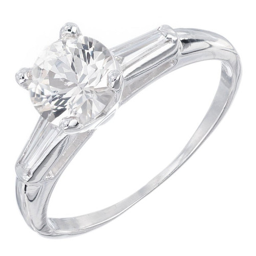 1.20 Carat White Sapphire Baguette Diamond Platinum Three-Stone Engagement Ring