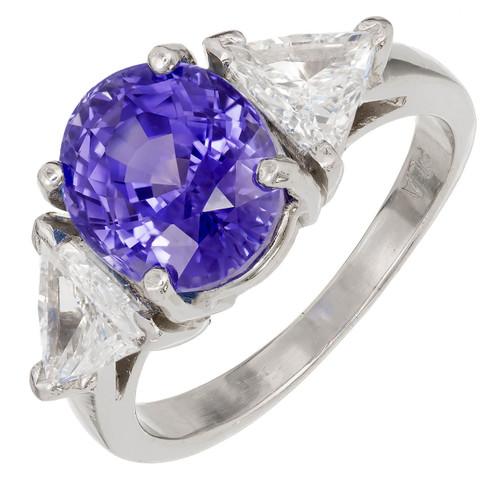 Vintage 5.17ct Natural No Heat Sapphire 1.30ct Trilliant Diamond Platinum Ring