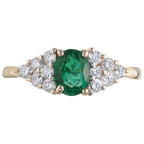 .65 Carat Oval Emerald Diamond Gold Cluster Engagement Ring