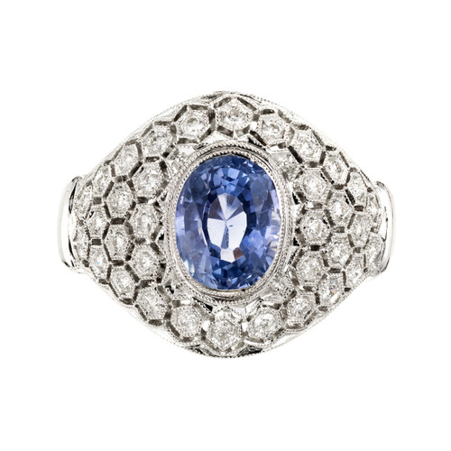 GIA Certified Natural Blue Sapphire Diamond Dome Cluster Cocktail Ring