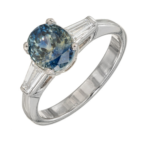 2.41ct Green Blue Oval Sapphire Diamond Engagement Platinum Ring