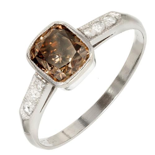 GIA Certified 1.37 Carat Natural Brown Diamond Platinum Engagement Ring